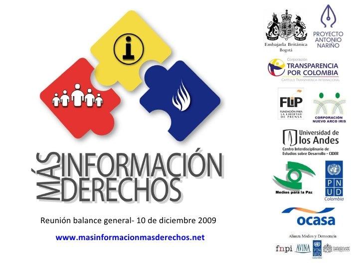 Reunión balance general- 10 de diciembre 2009 www.masinformacionmasderechos.net