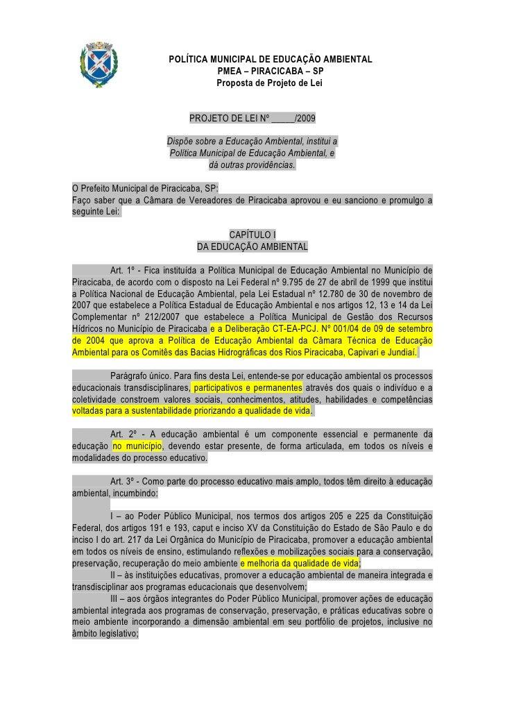 POLÍTICA MUNICIPAL DE EDUCAÇÃO AMBIENTAL                                    PMEA – PIRACICABA – SP                        ...