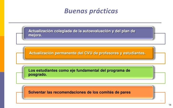 Buenas prácticas  Actualización colegiada de la autoevaluación y del plan de mejora.    Actualización permanente del CVU d...