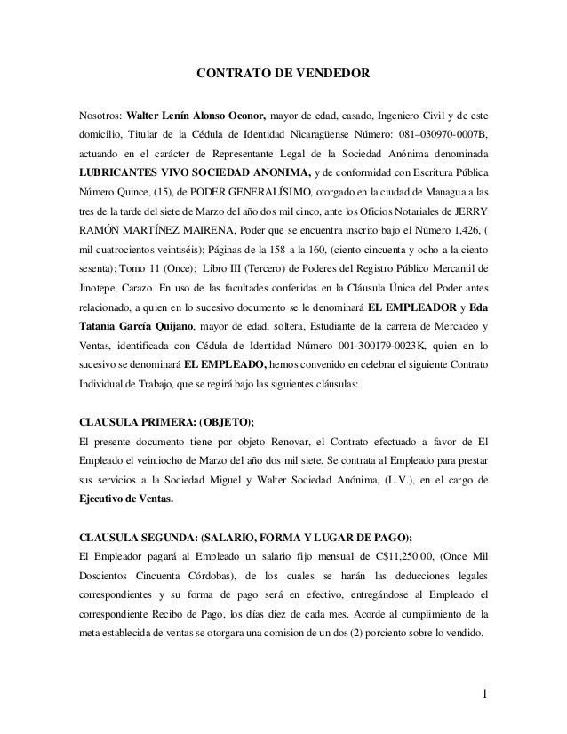 Anexo 4 contrato de trabajo lubricantes vivo s a for Modelo contrato laboral