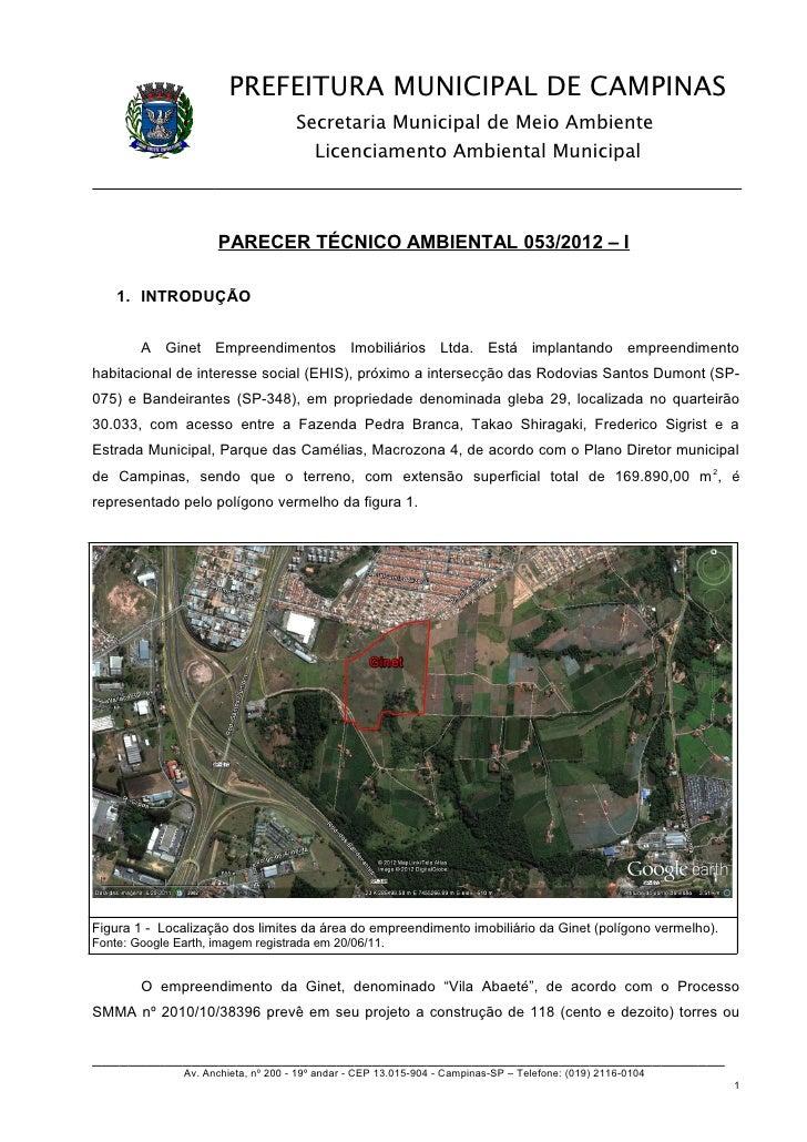 PREFEITURA MUNICIPAL DE CAMPINAS                                      Secretaria Municipal de Meio Ambiente               ...