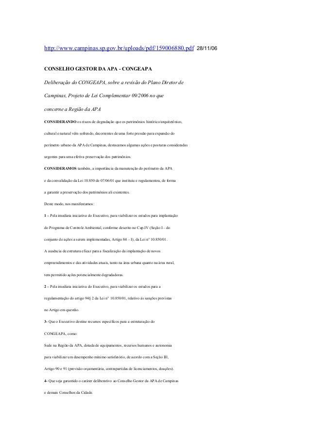 http://www.campinas.sp.gov.br/uploads/pdf/159006880.pdf 28/11/06CONSELHO GESTOR DA APA - CONGEAPADeliberação do CONGEAPA, ...