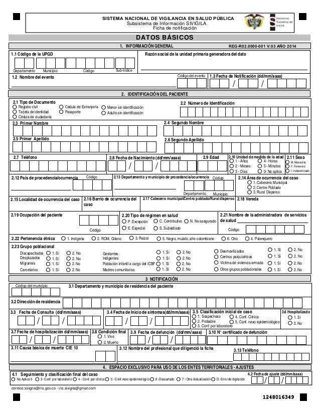 SISTEMA NACIONAL DE VIGILANCIA EN SALUD PÚBLICA  Subsistema de Información SIVIGILA  Ficha de notificación  DATOS BÁSICOS ...