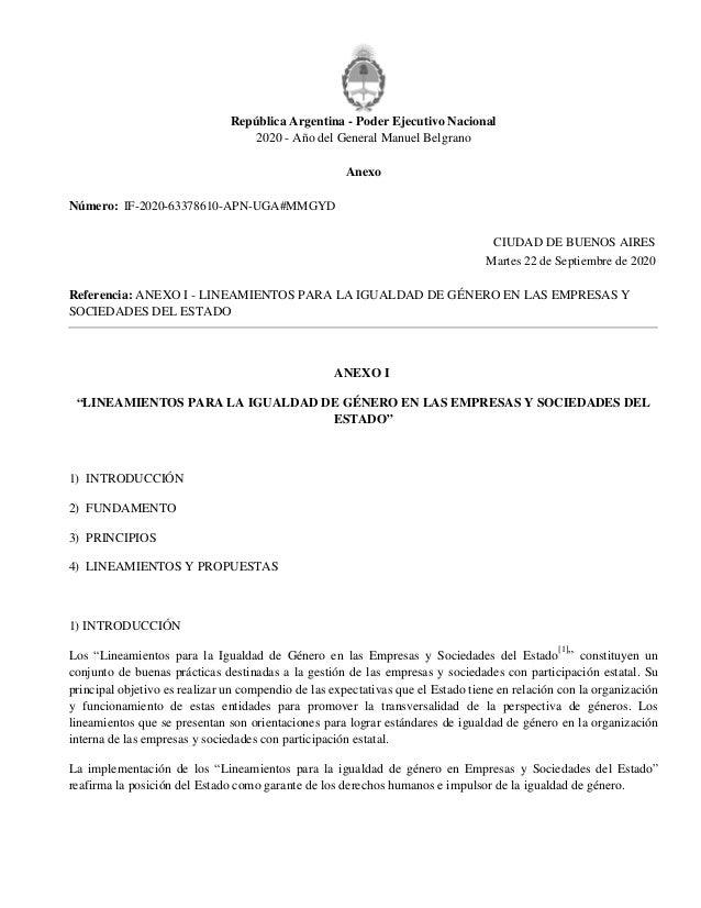 República Argentina - Poder Ejecutivo Nacional 2020 - Año del General Manuel Belgrano Anexo Número: Referencia: ANEXO I - ...