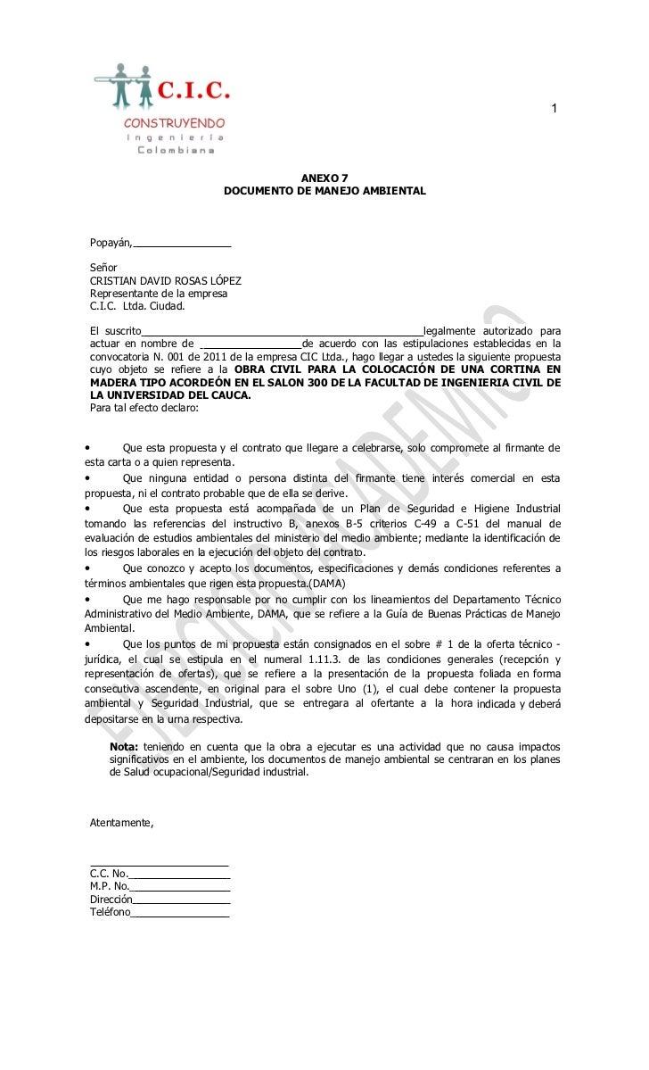 1                                          ANEXO 7                               DOCUMENTO DE MANEJO AMBIENTAL    Popayán,...