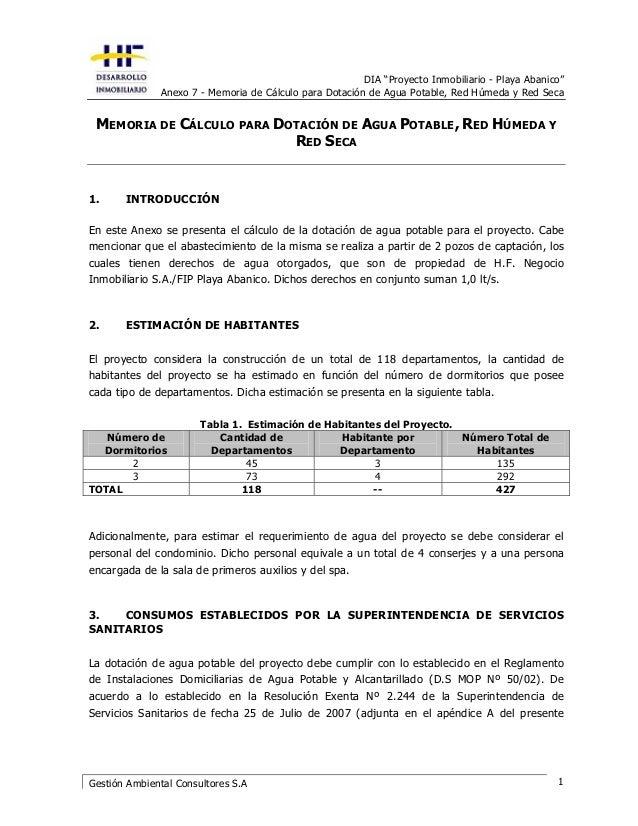 "DIA ""Proyecto Inmobiliario - Playa Abanico"" Anexo 7 - Memoria de Cálculo para Dotación de Agua Potable, Red Húmeda y Red S..."