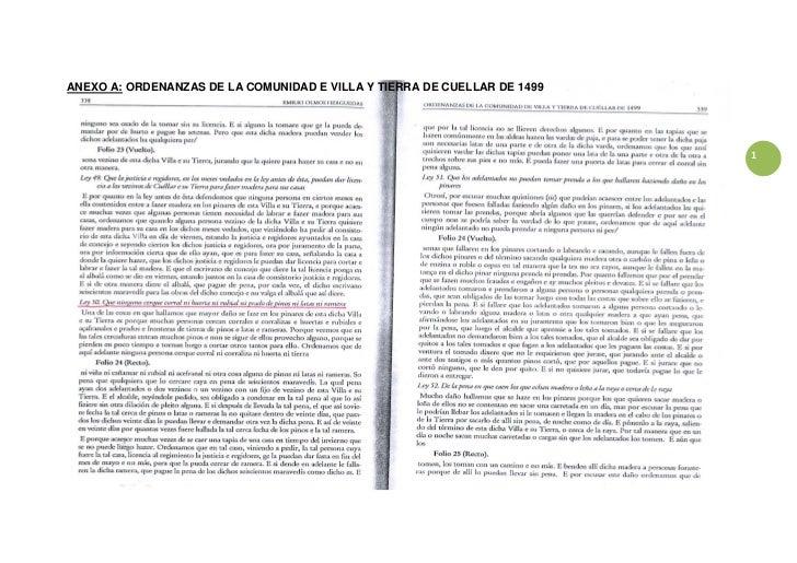 ANEXO A: ORDENANZAS DE LA COMUNIDAD E VILLA Y TIERRA DE CUELLAR DE 1499                                                   ...