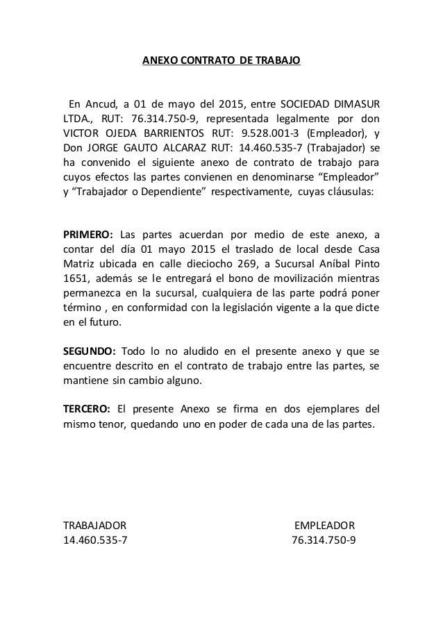 Anexo contrato de trabajo for Modelo contrato laboral