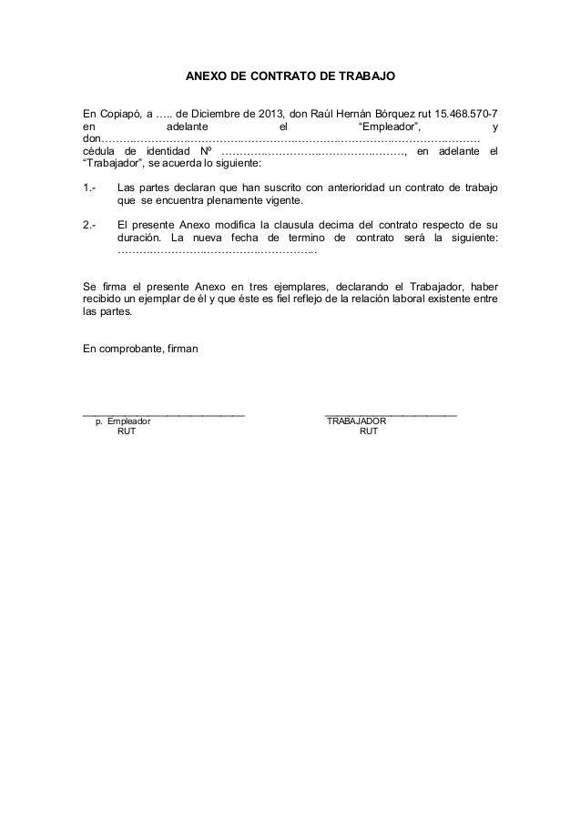 Anexo de contrato de trabajo for Formato de contrato de trabajo indefinido