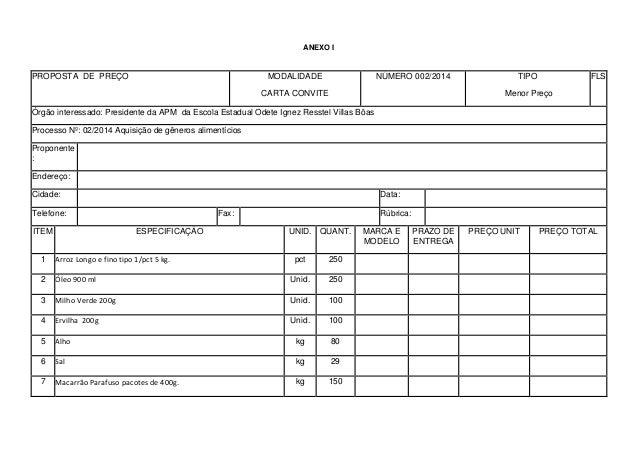 ANEXO I PROPOSTA DE PREÇO MODALIDADE CARTA CONVITE NÚMERO 002/2014 TIPO Menor Preço FLS Órgão interessado: Presidente da A...