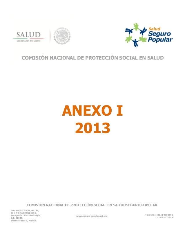 COMISIÓN NACIONAL DE PROTECCIÓN SOCIAL EN SALUD  ANEXO I 2013  COMISIÓN NACIONAL DE PROTECCIÓN SOCIAL EN SALUD/SEGURO POPU...