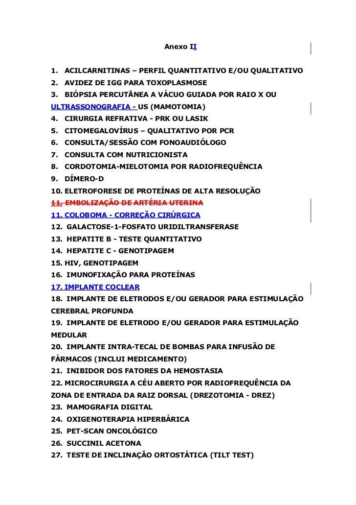 Anexo II1. ACILCARNITINAS – PERFIL QUANTITATIVO E/OU QUALITATIVO2. AVIDEZ DE IGG PARA TOXOPLASMOSE3. BIÓPSIA PERCUTÂNEA A ...