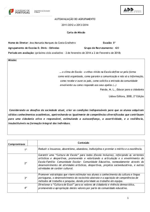 1 AUTOAVALIAÇÃO DO AGRUPAMENTO 2011/2012 e 2013/2014 Carta de Missão Nome do Diretor: Ana Manuela Marques da Costa Gralhei...
