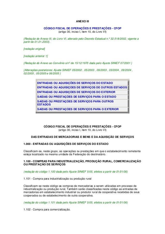 ANEXO III CÓDIGO FISCAL DE OPERAÇÕES E PRESTAÇÕES - CFOP (artigo 30, inciso I, item 10, do Livro VI) {Redação do Anexo III...