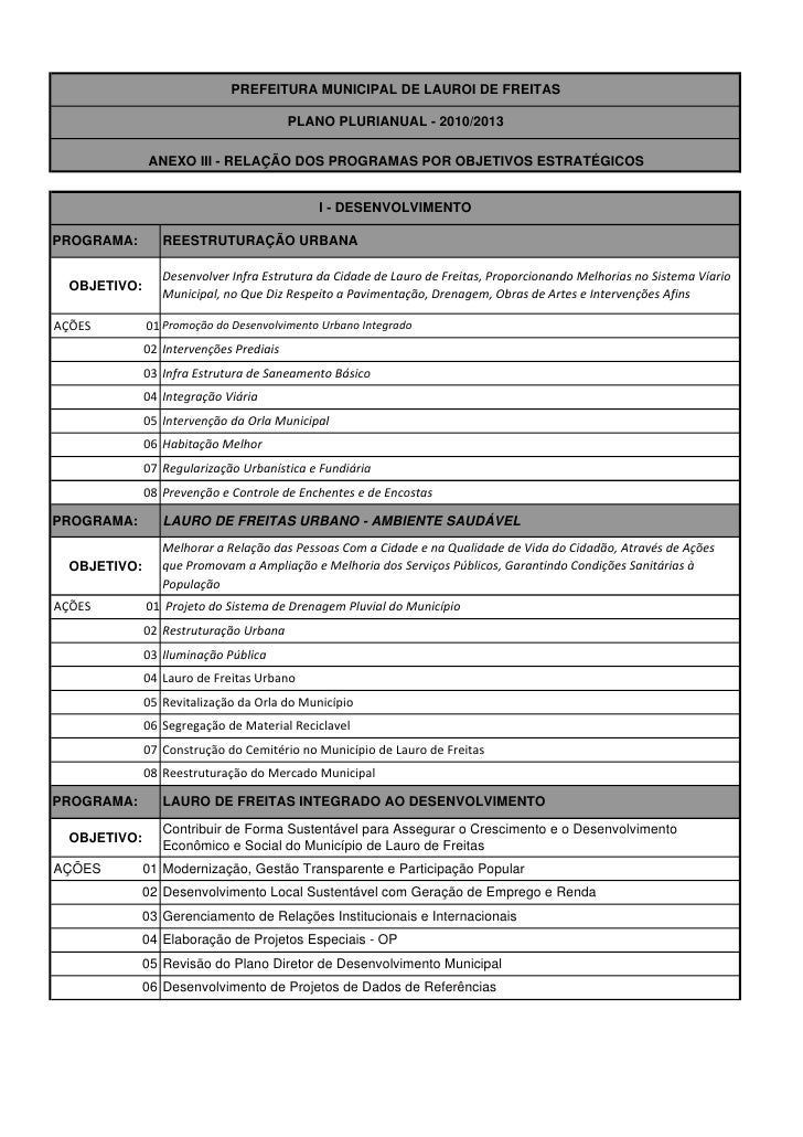 PREFEITURA MUNICIPAL DE LAUROI DE FREITAS                                                PLANO PLURIANUAL - 2010/2013     ...