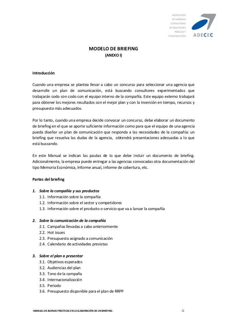 MODELO DE BRIEFING                                                      (ANEXO I)IntroducciónCuando una empresa se plantea...