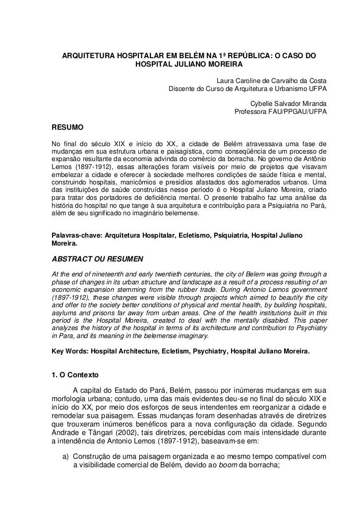 ARQUITETURA HOSPITALAR EM BELÉM NA 1ª REPÚBLICA: O CASO DO                   HOSPITAL JULIANO MOREIRA                     ...
