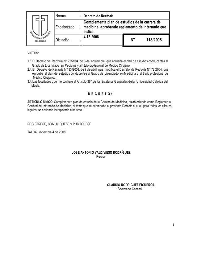 983dd54801 1 Norma : Decreto de Rectoría Encabezado : Complementa plan de estudios de  la carrera de ...