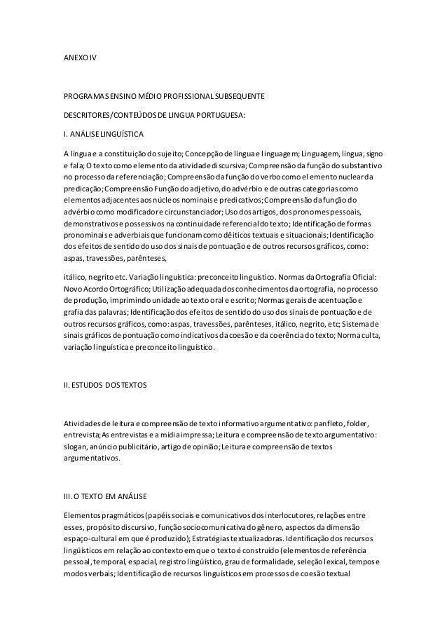 ANEXO IV  PROGRAMAS ENSINO MÉDIO PROFISSIONAL SUBSEQUENTE  DESCRITORES/CONTEÚDOS DE LINGUA PORTUGUESA:  I. ANÁLISE LINGUÍS...