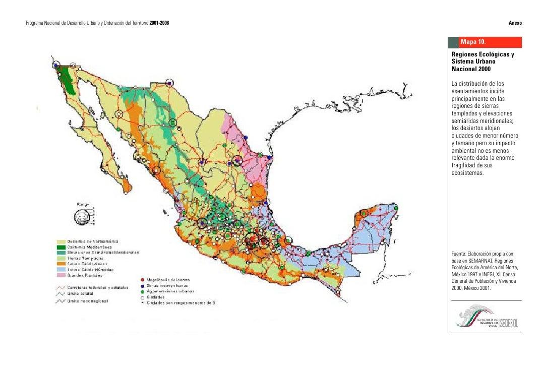 Mapas programa nacional de desarrollo urbano 2001-2006