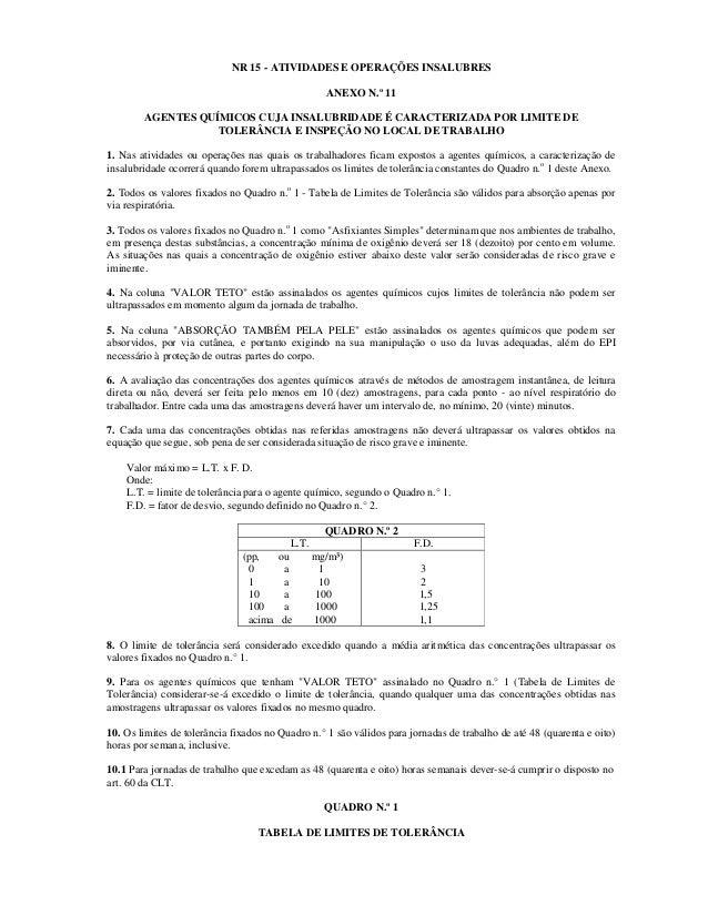 NR 15 - ATIVIDADES E OPERAÇÕES INSALUBRES ANEXO N.º 11 AGENTES QUÍMICOS CUJA INSALUBRIDADE É CARACTERIZADA POR LIMITE DE T...