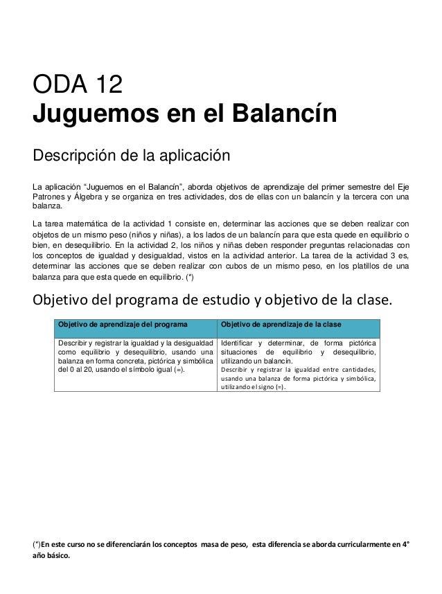 """ODA 12 Juguemos en el Balancín Descripción de la aplicación La aplicación """"Juguemos en el Balancín"""", aborda objetivos de a..."""