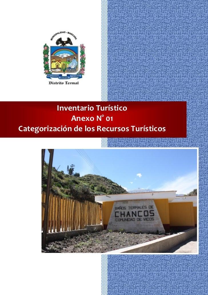 Inventario Turístico              Anexo N° 01Categorización de los Recursos Turísticos                       132