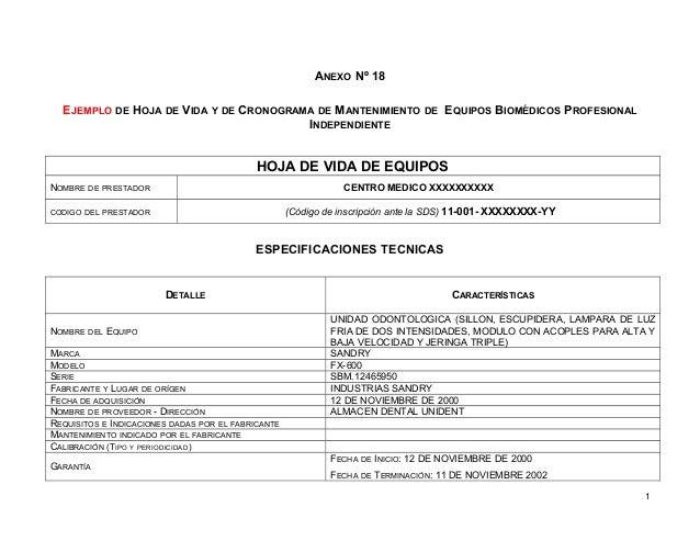 ANEXO Nº 18 EJEMPLO DE HOJA DE VIDA Y DE CRONOGRAMA DE MANTENIMIENTO DE EQUIPOS BIOMÉDICOS PROFESIONAL INDEPENDIENTE HOJA ...