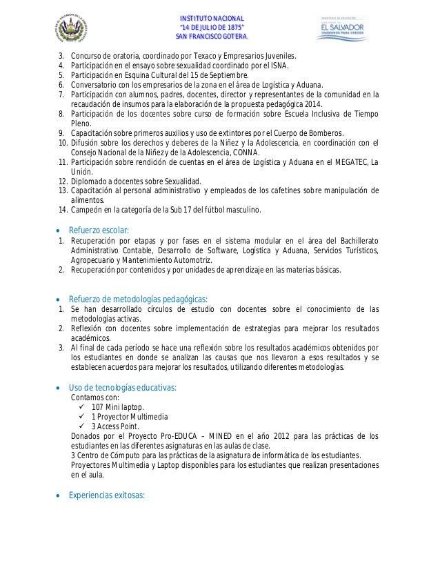 Estructura Del Informe De Rendicion De Cuentas Instituto