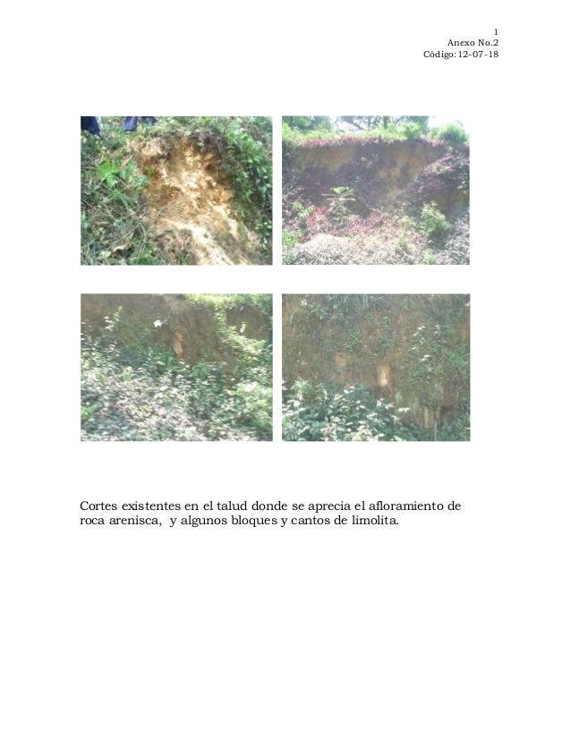 1 Anexo No.2 Código:12-07-18  Cortes existentes en el talud donde se aprecia el afloramiento de roca arenisca, y algunos b...