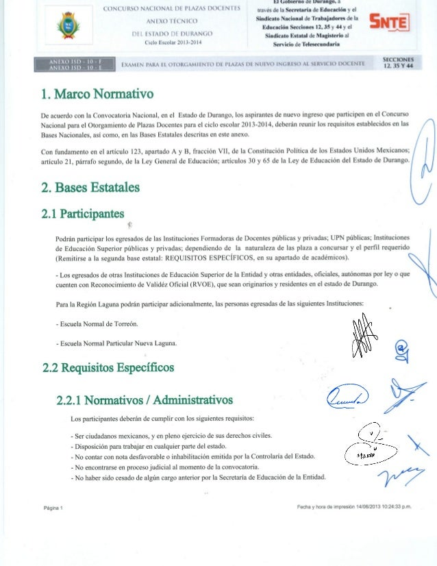 Anexo para nuevo ingreso Examen de Oposición 2013