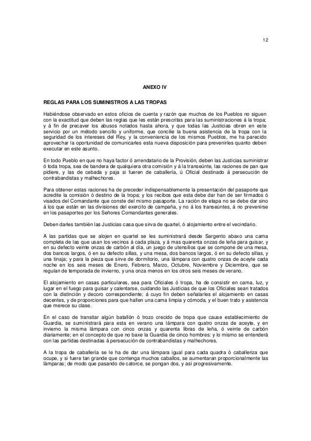 12  ANEXO IV REGLAS PARA LOS SUMINISTROS A LAS TROPAS Habiéndose observado en estos oficios de cuenta y razón que muchos d...