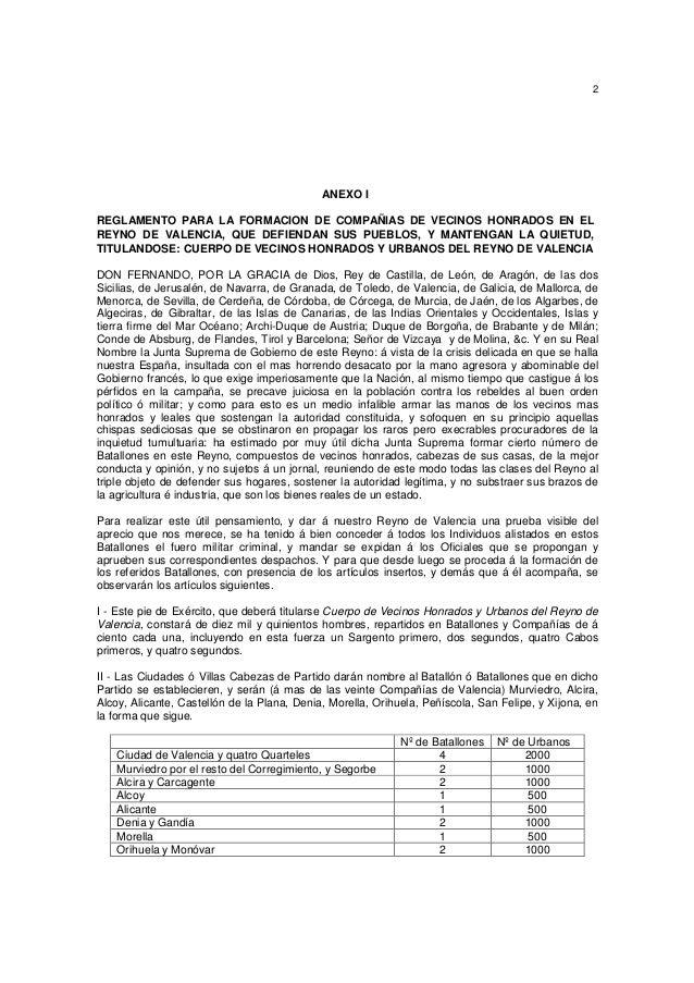 2  ANEXO I REGLAMENTO PARA LA FORMACION DE COMPAÑIAS DE VECINOS HONRADOS EN EL REYNO DE VALENCIA, QUE DEFIENDAN SUS PUEBLO...