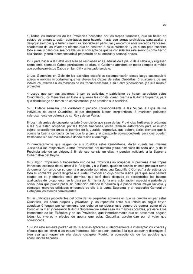 20  1.-Todos los habitantes de las Provincias ocupadas por las tropas francesas, que se hallen en estado de armarse, están...