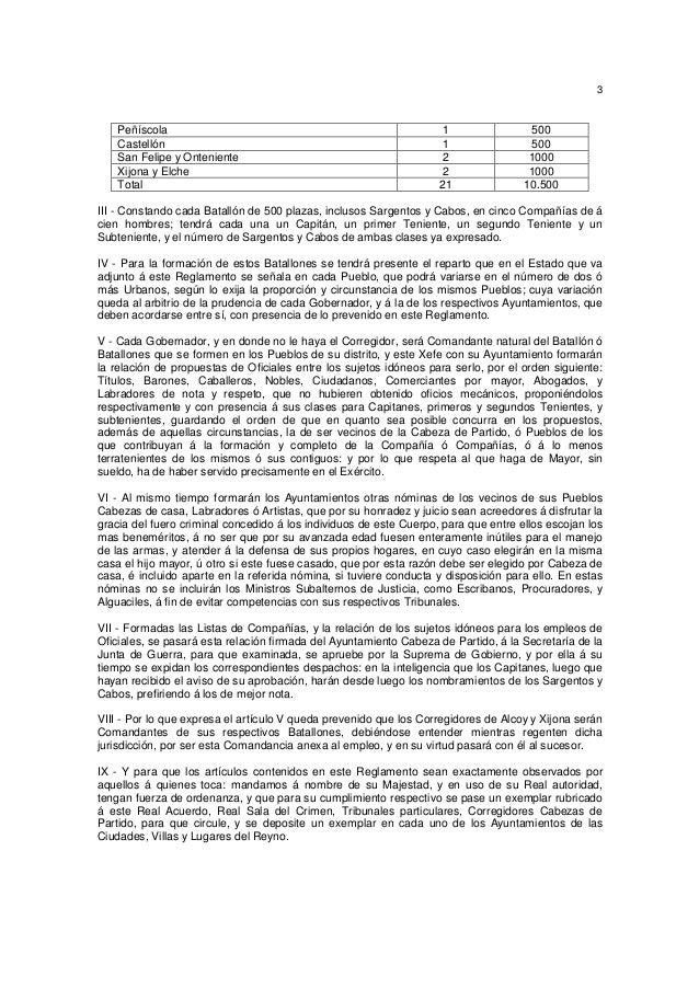 3  Peñíscola Castellón San Felipe y Onteniente Xijona y Elche Total  1 1 2 2 21  500 500 1000 1000 10.500  III - Constando...