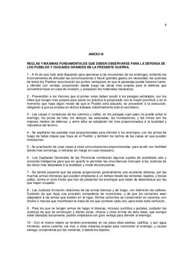 8  ANEXO III REGLAS Y MÁXIMAS FUNDAMENTALES QUE DEBEN OBSERVARSE PARA LA DEFENSA DE LOS PUEBLOS Y CIUDADES GRANDES EN LA P...