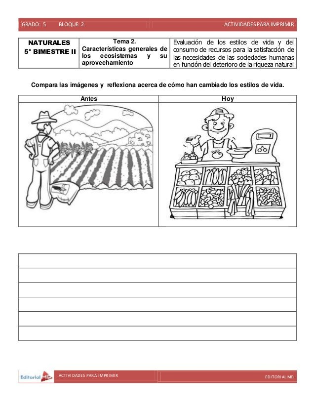 GRADO: 5 BLOQUE: 2 ACTIVIDADESPARA IMPRIMIR ACTIVIDADES PARA IMPRIMIR EDITORIAL MD NATURALES 5° BIMESTRE II Tema 2. Caract...