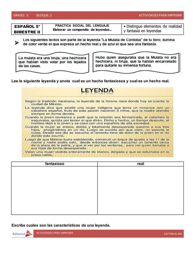 GRADO: 5 BLOQUE: 2 ACTIVIDADESPARA IMPRIMIR ACTIVIDADES PARA IMPRIMIR EDITORIAL MD ESPAÑOL 5° BIMESTRE II PRACTICA SOCIAL ...