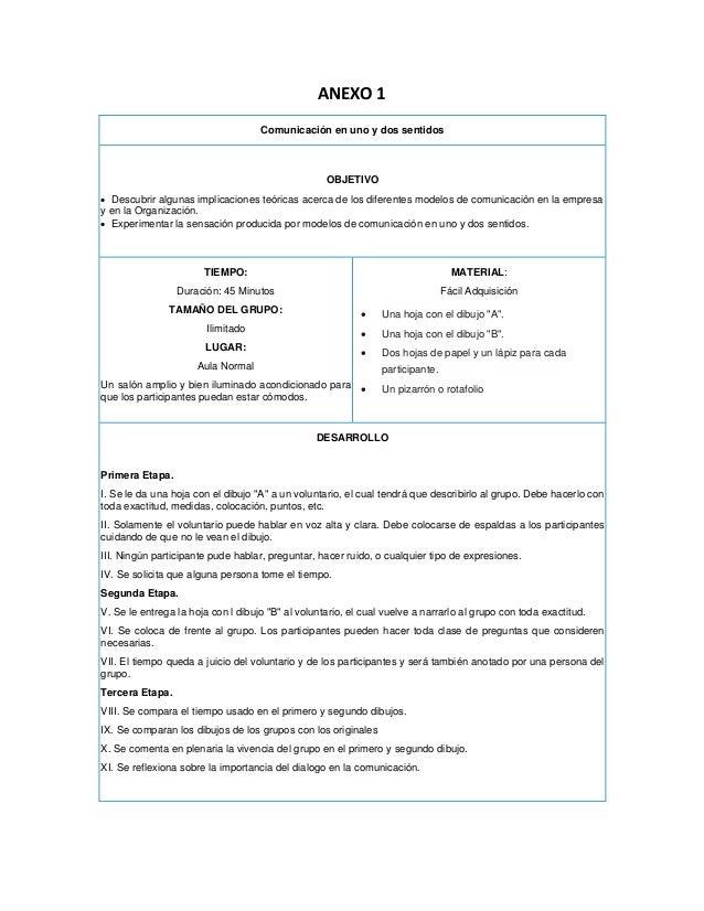 ANEXO 1 Comunicación en uno y dos sentidos OBJETIVO • Descubrir algunas implicaciones teóricas acerca de los diferentes mo...