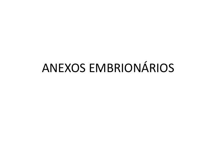 ANEXOS EMBRIONÁRIOS<br />