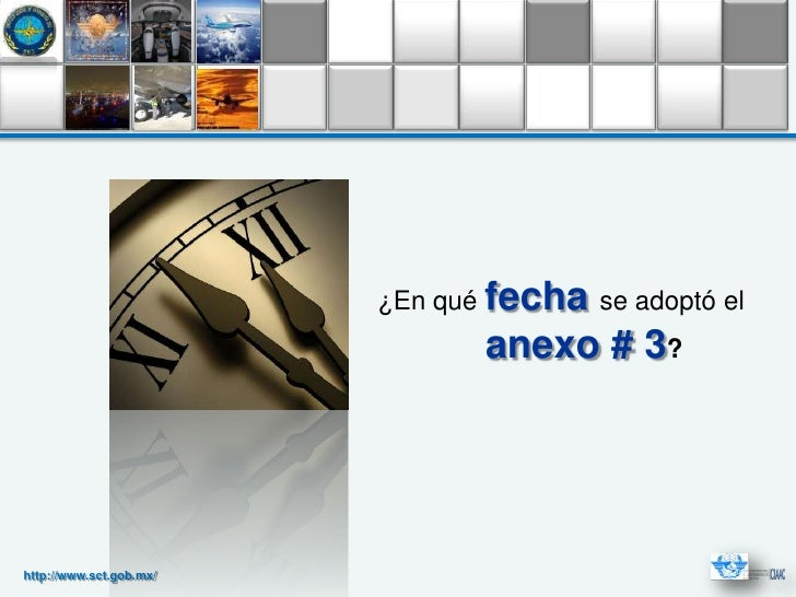 ¿En qué fecha se adoptó el                                anexo # 3?http://www.sct.gob.mx/