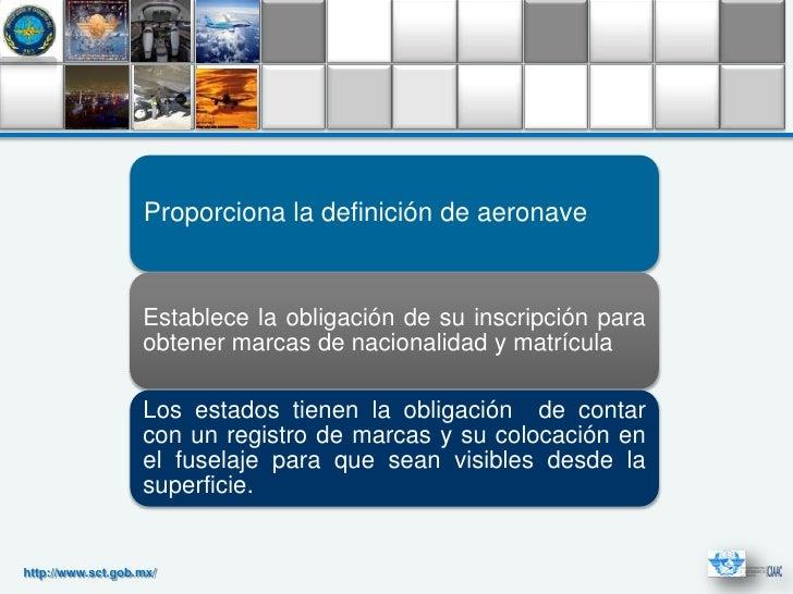 Proporciona la definición de aeronave                   Establece la obligación de su inscripción para                   o...