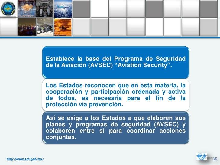 """Establece la base del Programa de Seguridad                         de la Aviación (AVSEC) """"Aviation Security"""".           ..."""