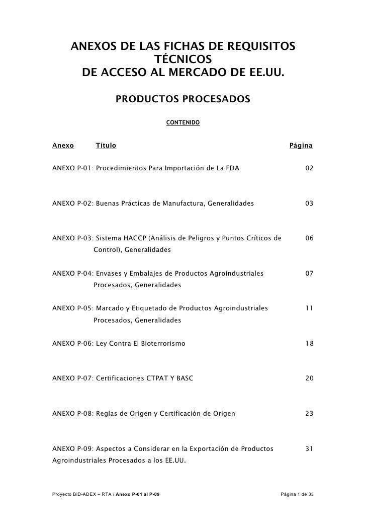 ANEXOS DE LAS FICHAS DE REQUISITOS                   TÉCNICOS        DE ACCESO AL MERCADO DE EE.UU.                       ...