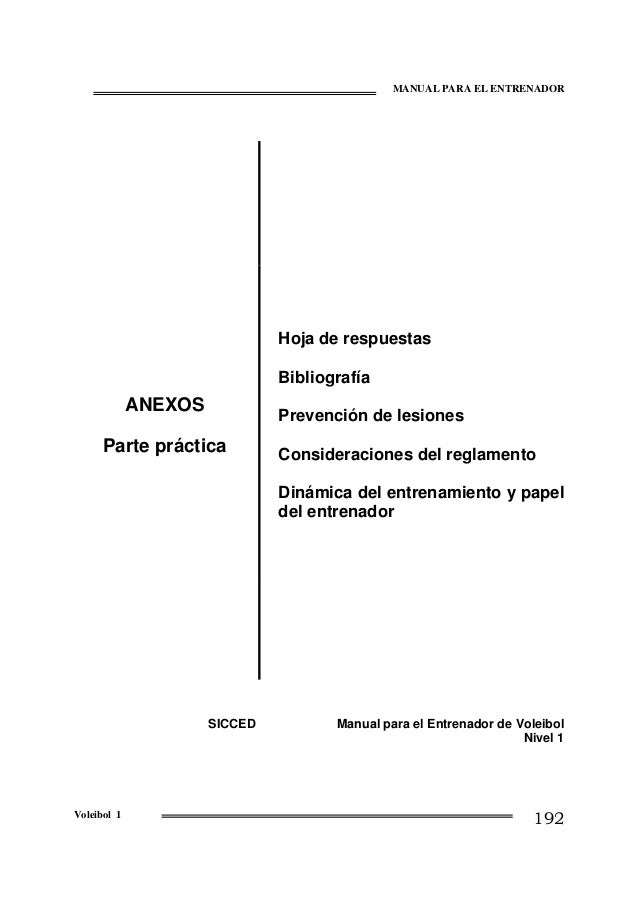 MANUAL PARA EL ENTRENADOR  Hoja de respuestas Bibliografía  ANEXOS  Prevención de lesiones  Parte práctica  Consideracione...