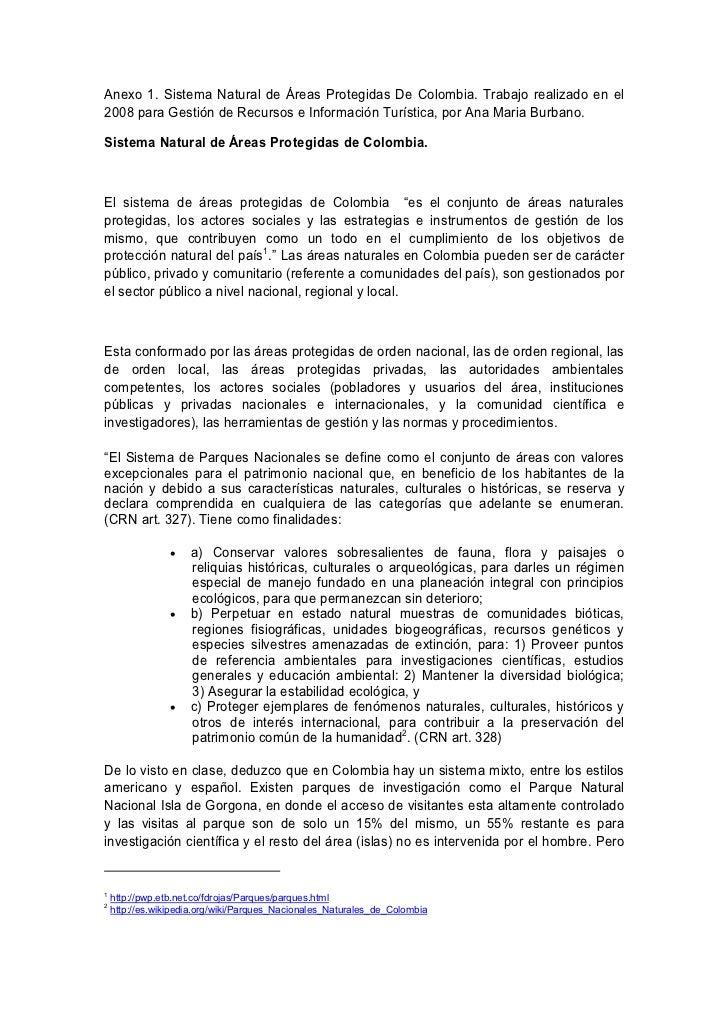 Anexo 1. Sistema Natural de Áreas Protegidas De Colombia. Trabajo realizado en el2008 para Gestión de Recursos e Informaci...