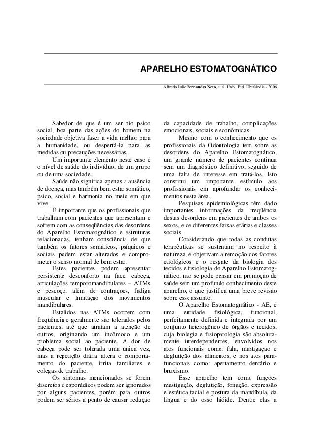 APARELHO ESTOMATOGNÁTICO                                              Alfredo Julio Fernandes Neto, et al. Univ. Fed. Uber...
