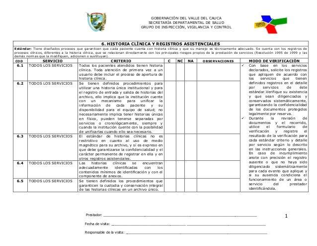 GOBERNACIÓN DEL VALLE DEL CAUCA SECRETARÍA DEPARTAMENTAL DE SALUD GRUPO DE INSPECCIÓN, VIGILANCIA Y CONTROL Prestador: ___...