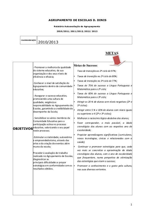 1 AGRUPAMENTO DE ESCOLAS D. DINIS Relatório Autoavaliação do Agrupaqmento 2010/2011; 2011/2012; 2012/ 2013 CALENDARIZAÇÃO ...