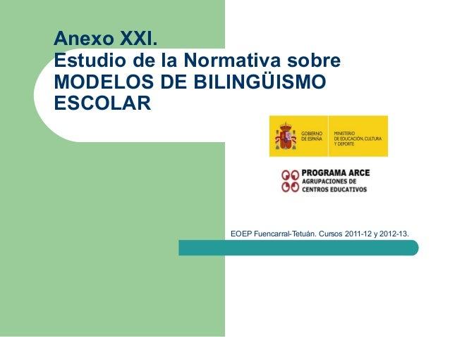 EOEP Fuencarral-Tetuán. Cursos 2011-12 y 2012-13. Anexo XXI. Estudio de la Normativa sobre MODELOS DE BILINGÜISMO ESCOLAR